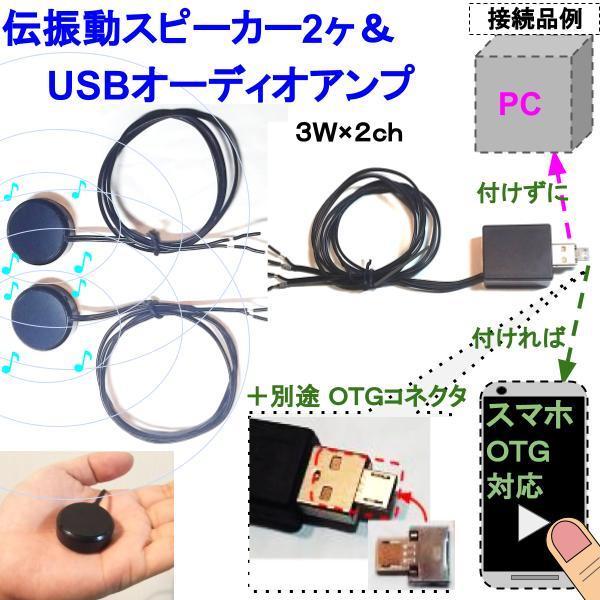 伝振動スピーカー2個&USBオーディオアンプ 壁板や窓がスピーカーになる 貼替簡単×小型大音量 tafuon