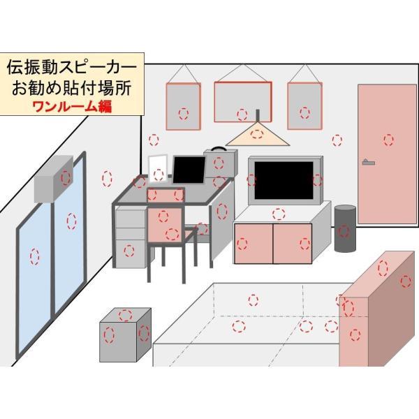伝振動スピーカー2個&USBオーディオアンプ 壁板や窓がスピーカーになる 貼替簡単×小型大音量 tafuon 12