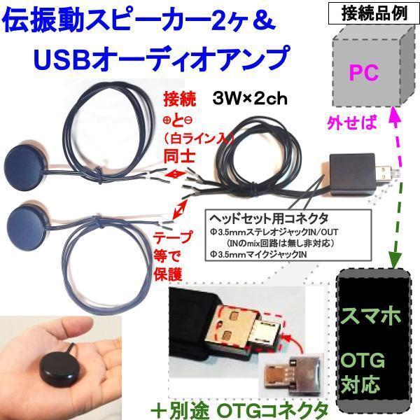 伝振動スピーカー2個&USBオーディオアンプ 壁板や窓がスピーカーになる 貼替簡単×小型大音量 tafuon 06