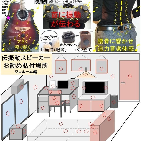 伝振動スピーカー&Bluetoothアンプ(電池仕様)  壁板や窓がスピーカーになる 貼替簡単×小型大音量|tafuon|04