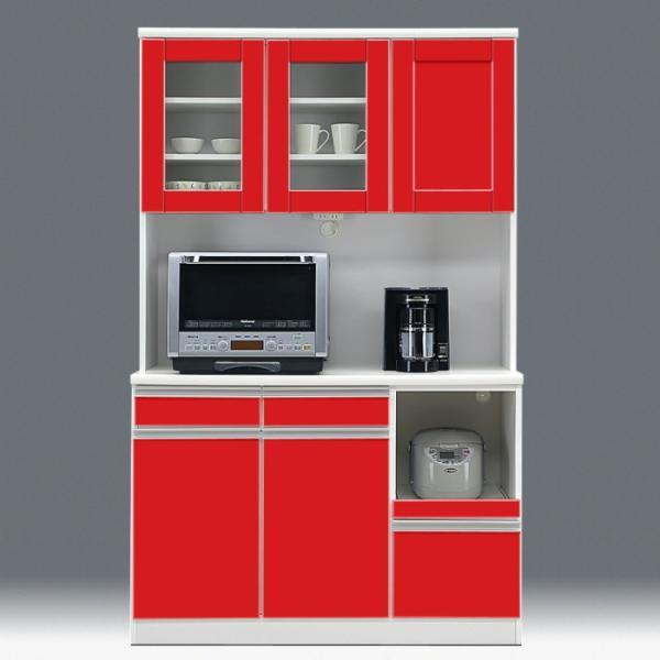 食器棚 開き戸 レンジ台 国産 完成品 幅120cm ポエム レッド 赤 アウトレット|taiho-kagu