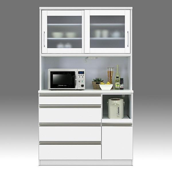 食器棚 引き戸 レンジ台 国産 完成品 幅120cm ループ ホワイト 白 アウトレット|taiho-kagu