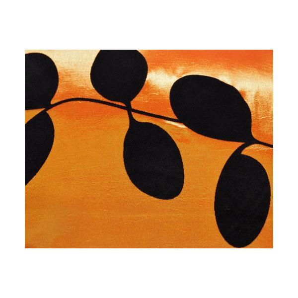 クッションカバー 45×45cm 対応 絹 おみやげ アジアン 海外 雑貨 / タイ シルク クッション カバー リーフ デザイン オレンジ 橙|taikokuya|02