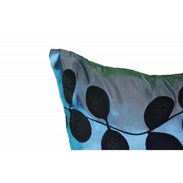 クッションカバー 45×45cm 対応 絹 おみやげ 海外 雑貨 / タイ シルク クッション カバー リーフ デザイン ターコイズ ブルー 青|taikokuya|03
