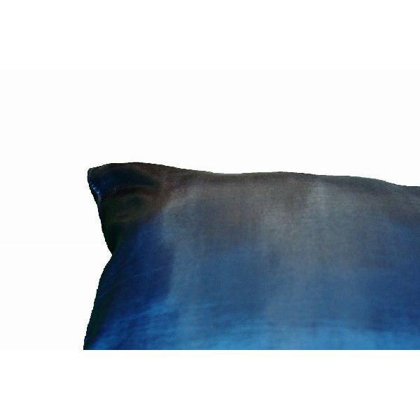 クッションカバー 45×45cm 対応 絹 おみやげ 海外 雑貨 / タイ シルク クッション カバー リーフ デザイン ターコイズ ブルー 青|taikokuya|05