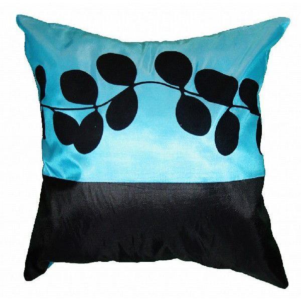 クッションカバー 45×45cm 対応 絹 おみやげ アジアン 雑貨 / タイ シルク クッション カバー リーフ デザイン アクア ブルー 青|taikokuya