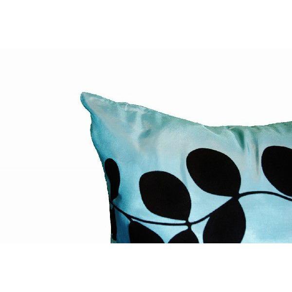 クッションカバー 45×45cm 対応 絹 おみやげ アジアン 雑貨 / タイ シルク クッション カバー リーフ デザイン アクア ブルー 青|taikokuya|03