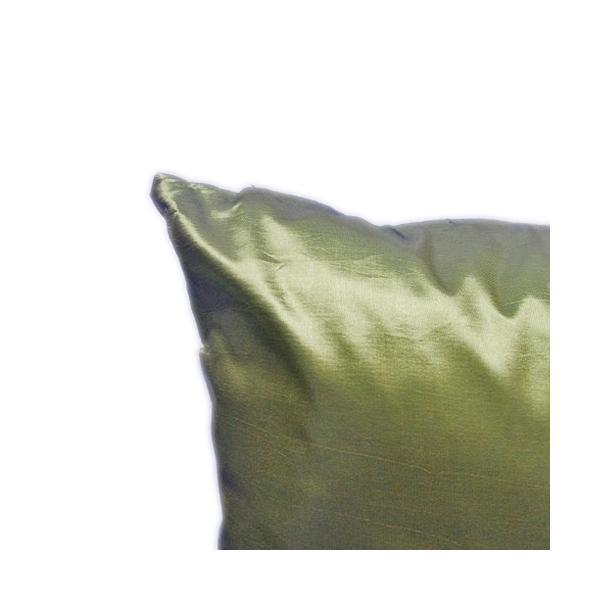 クッションカバー 45×45cm 対応 グリーン 緑 タイ シルク 絹 無地 おみやげ 雑貨 / 130915040 taikokuya 02