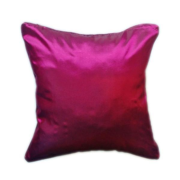 クッションカバー 45×45cm 対応 マゼンタ 赤 タイ シルク 絹 無地 おみやげ 雑貨 / 130915041|taikokuya