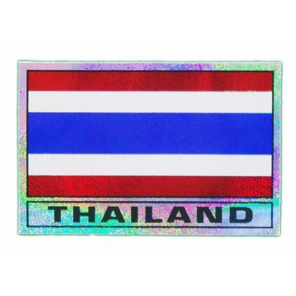 ステッカー タイ 雑貨 アジアン シール / タイ王国 国旗 ステッカー(THAI)M サイズ ラメ t-H  / おみやげ 旅行|taikokuya