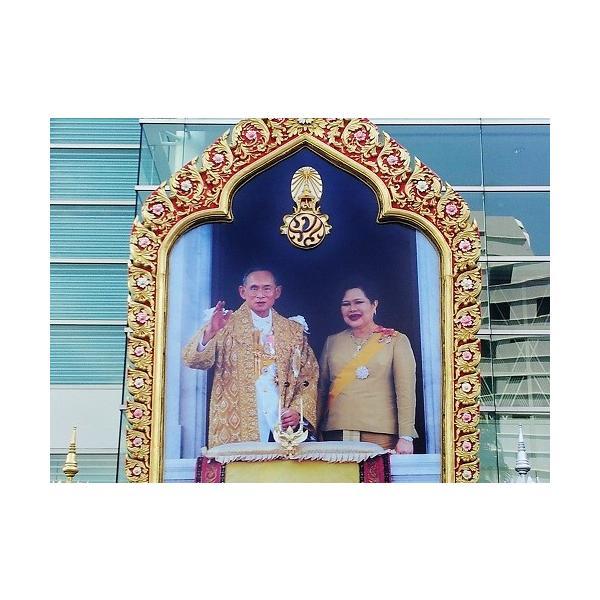 ステッカー タイ 雑貨 アジアン シール / タイ 王室 ステッカー プミポン 国王 (ラーマ 9世) 肖像 + 国旗 Sサイズ l-A / おみやげ|taikokuya|05