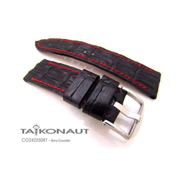 24mm TAIKONAUT 時計ベルト ホーンドボニークロコダイル マットブラック / レッドステッチ / パネライ44mm