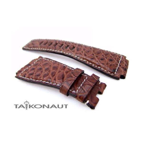 24mm TAIKONAUT 時計ベルト アリゲーター ブラウン ホワイトステッチ Bell&Ross BR01・BR03