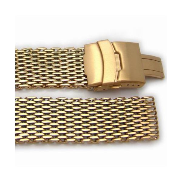22mm TAIKONAUT シャークメッシュバンド ポリッシュドゴールド XS