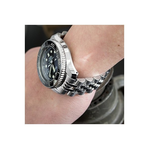 20mm メタル時計バンド ステンレススチール ANGUS ジュビリー ブレスレット サブマリーナクラスプ for セイコー MM300 SBDX001, SBDX003, SBDX017