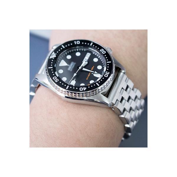20mm メタル時計バンド ステンレススチール スーパーエンジニア ブレスレット ブラッシュドシルバー ストレートエンド