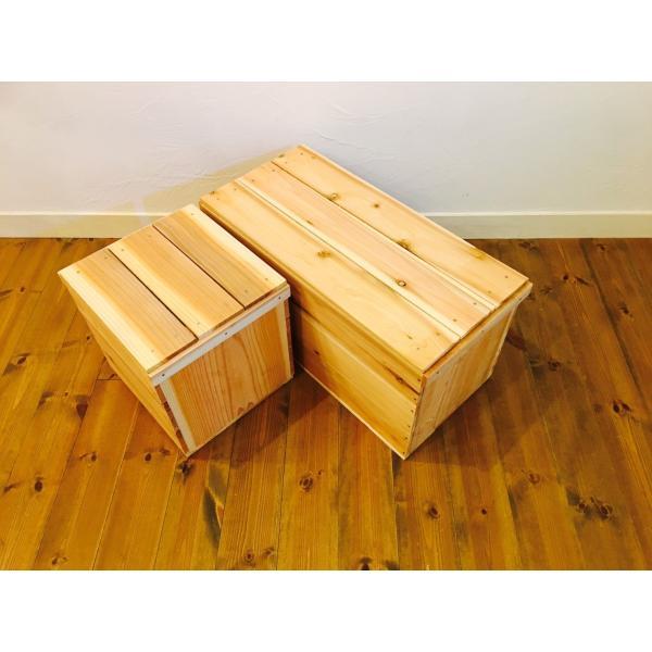 2箱 蓋付 りんご箱 巾1/2 【複数購入可】 / 木箱 ウッドボックス 収納 キャンプ 什器 マルシェ リビング DIY ガーデニング おもちゃ箱|tail-sougou|06