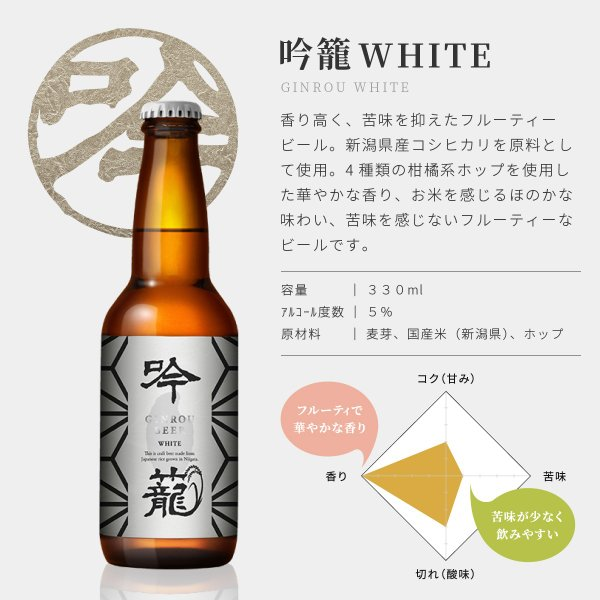 クラフトビール 地ビール 吟米麦酒(ギンマイビール) 吟米WHITE 330ml 新潟産 コシヒカリ tainaibeer 03