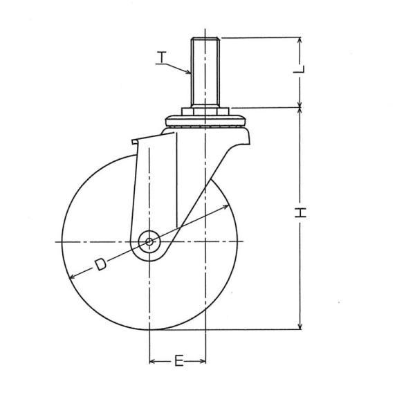 ハンマー キャスター 車輪 415EA-PDB 125mm ねじ込み 旋回式 (ゴム一体車輪 [ローラーベアリング入り])|tairaml|03