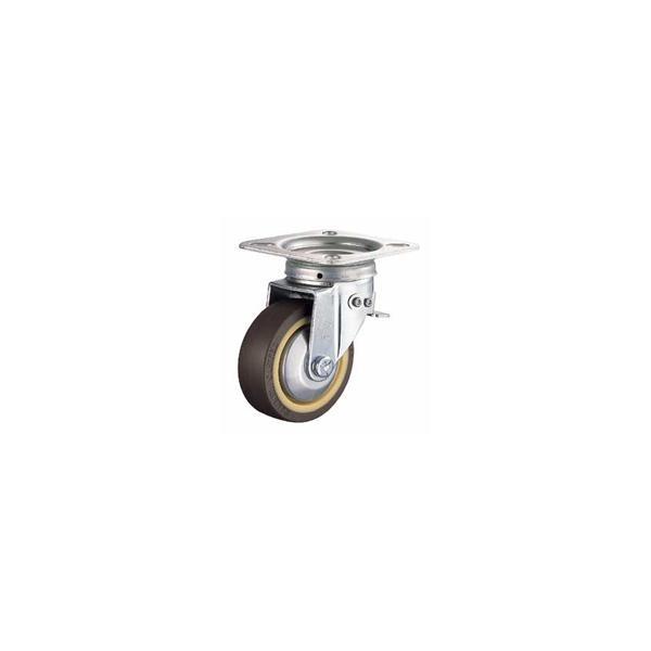 ハンマー キャスター 車輪  400F0S-RB 100mm 平付プレート自在車 (ゴム車輪[ローラーベアリング入・ボールベアリング入])