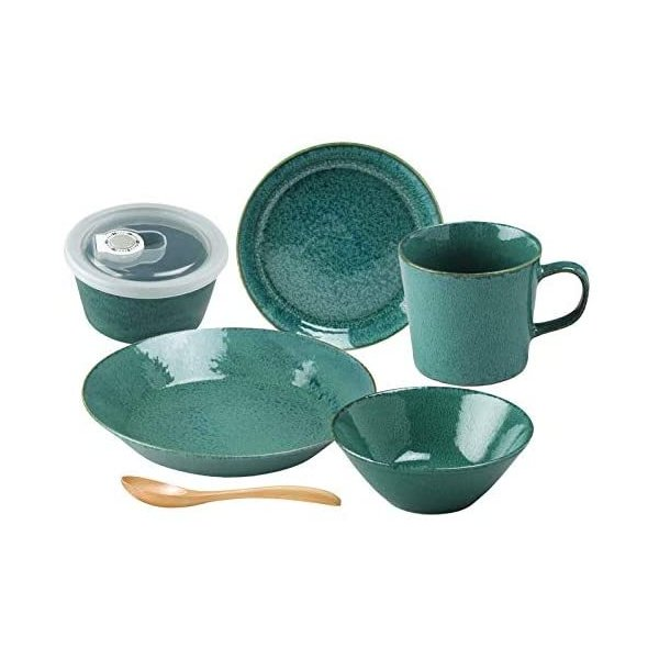 アイトー食器セット一人暮らし6点セットナチュラルカラーグリーン日本製567-506(グリーン)