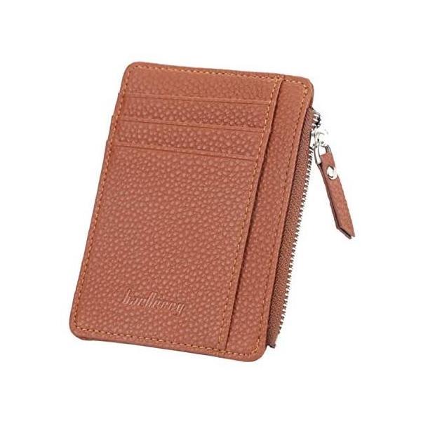 ヴァリオ カードケースミニ財布フラグメントケース小銭入れ薄型シンプルl字ファスナー財布(ブラウン)
