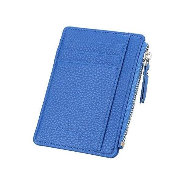 ヴァリオ カードケースミニ財布フラグメントケース小銭入れ薄型シンプルl字ファスナー財布(ブルー)
