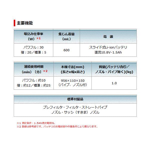 【セット】マキタ CL108FDSHW+ 充電式クリーナー 10.8V 1.5Ah 【サイクロンアタッチメントセット】バッテリー・充電器set【製品保証サービス有り】|takahashihonsha|04