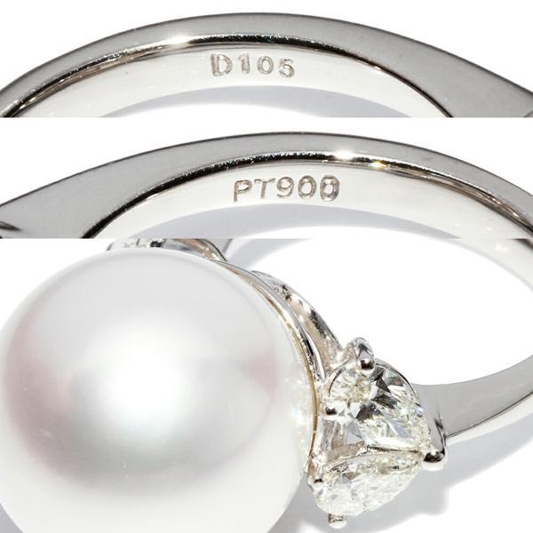 指輪 リング Pt900 パール 真珠 フェニックス 15.8ミリ ダイヤ1.05ct 12号