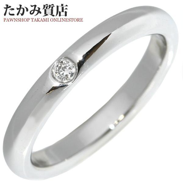 ティファニー 指輪 リング Pt950 ダイヤ1P 約0.02ct エルサ・ペレッティ スタッキングバンドリング 6.5号