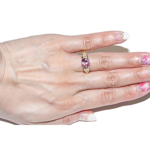 指輪 リング K18YG 合成ピンクサファイア2.56ct ダイヤ0.18ct 12号