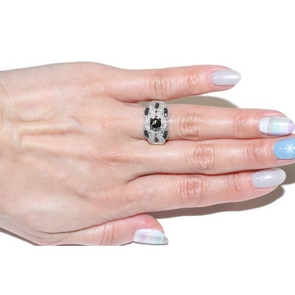 指輪 リング K18WG ブラックダイヤ0.60ct ダイヤ0.22ct 12号
