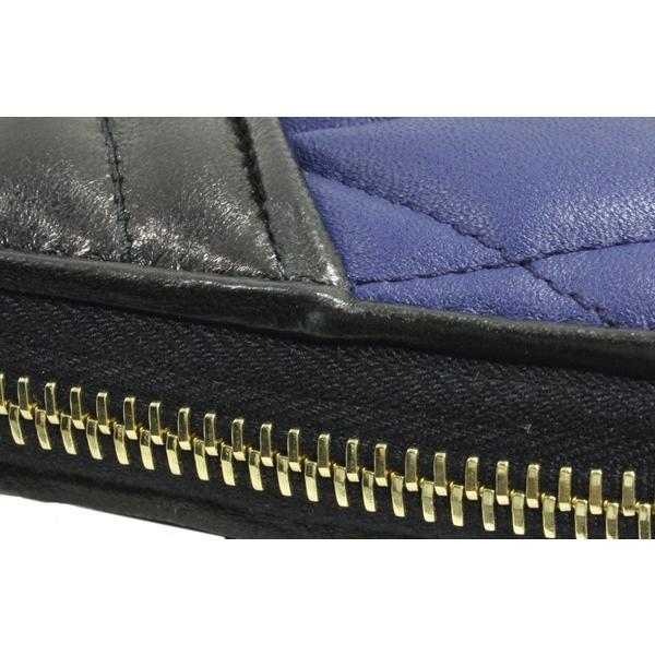 ミュウミュウ ラウンドファスナー長財布 小銭入れあり バイカーカラー 5M0506 ナッパレザー ネイビー・黒