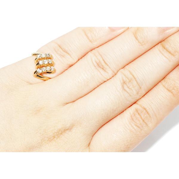 指輪 リング ピンキーリング K18YG ダイヤ0.36ct 指輪 リング 2号