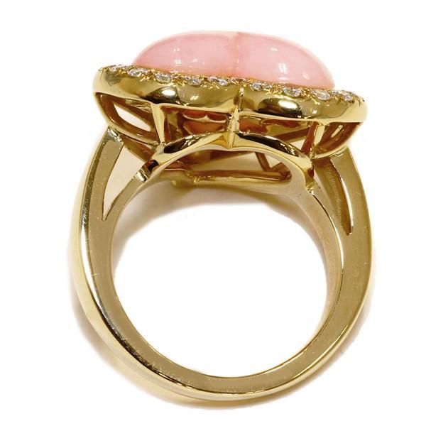指輪 リング K18YG ピンクオパール ダイヤ0.54ct 14.5号