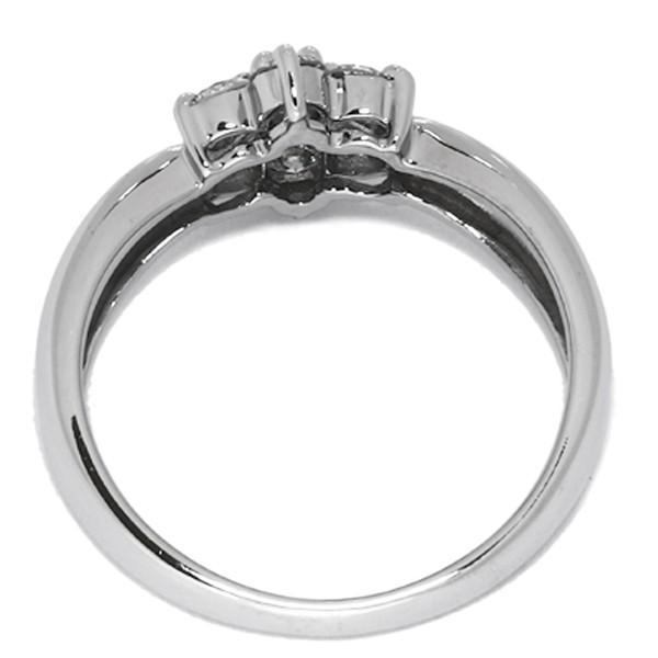 指輪 リング K18WG ダイヤ0.50ct 花 フラワー 8号
