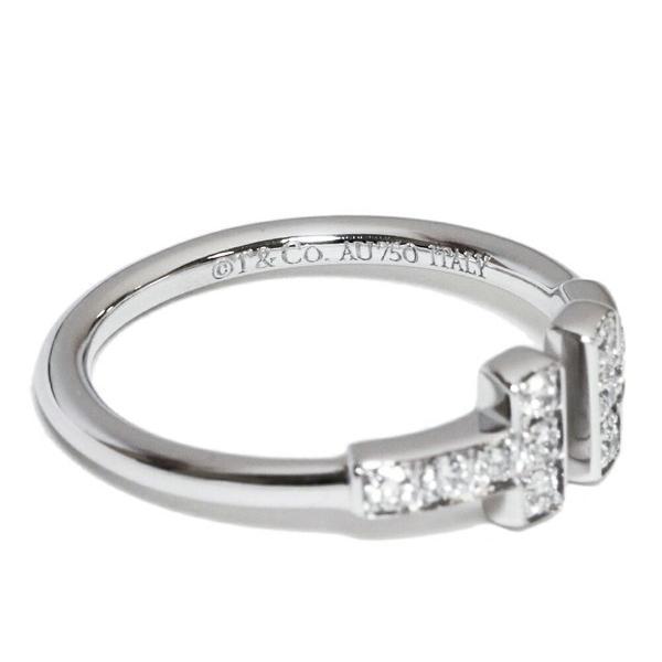 ティファニー 指輪 リング K18WG ダイヤ12P 0.13ct Tワイヤーリング 6.5号