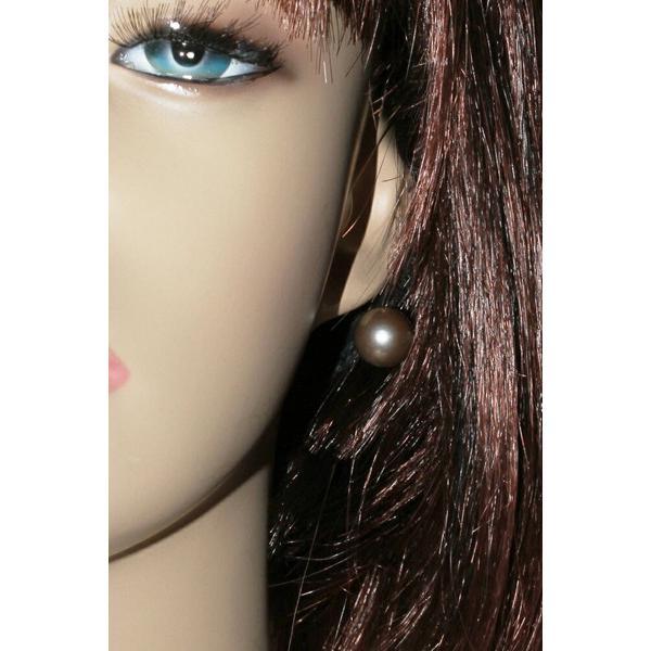 ピアス K14WG ブラックパール 黒蝶真珠 11.8ミリ