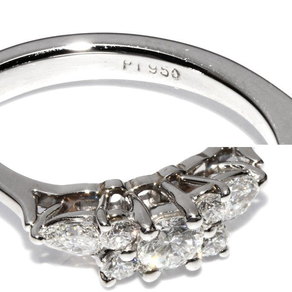 ティファニー 指輪 リング Pt950 ダイヤ5P 約0.38ct ペアシェイプダイヤ2P 約0.19ct セブンストーンリング 7号