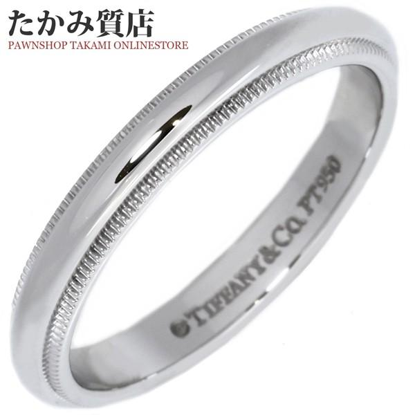 ティファニー 指輪 リング Pt950 ミルグレインバンドリング 幅3ミリ 15号