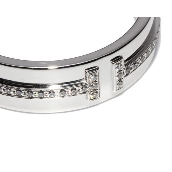 ティファニー 指輪 リング K18WG ダイヤ0.13ct T TWOリング 14号