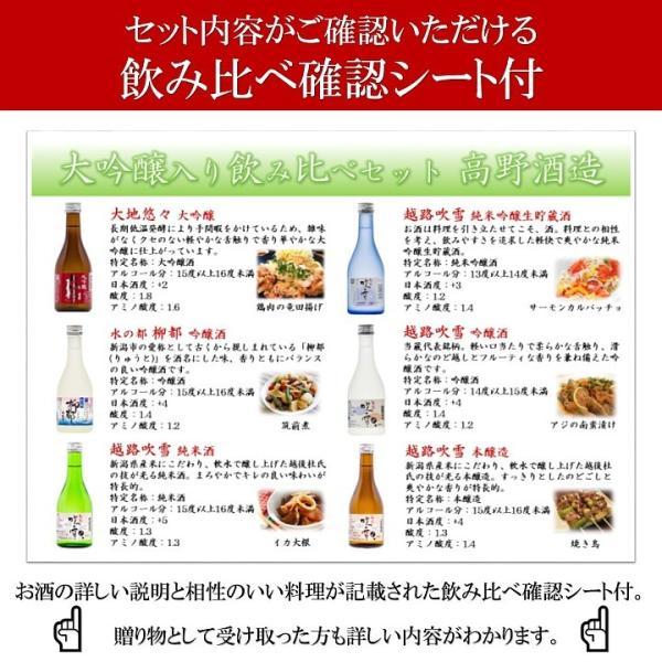 お中元 御中元 ギフト 日本酒 飲み比べセット 大吟醸入り 300ml 6本 辛口 小瓶 ミニボトル お酒 プレゼント のし対応 新潟 高野酒造 takano-shuzo-y 10