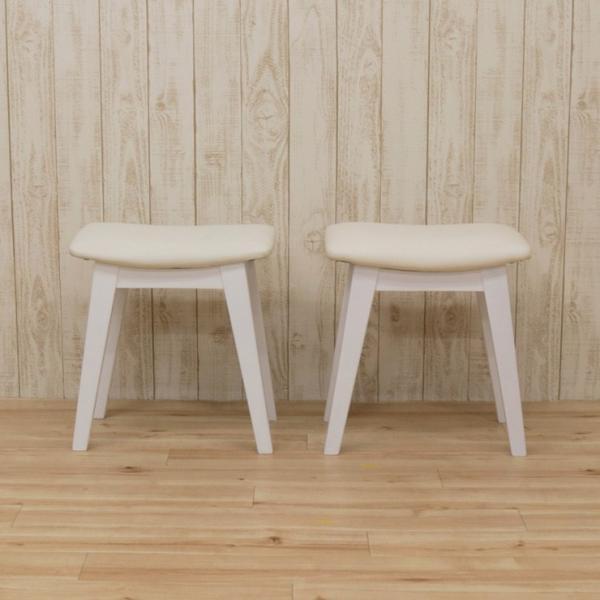 スツール 2脚セット ホワイト 完成品 クッション 幅42cm 44cs128-2ch-360wh 白色 ベンチチェア 玄関椅子 チェア サイドチェア 補助椅子 イス 3s-1k-128 hr|takara21|03
