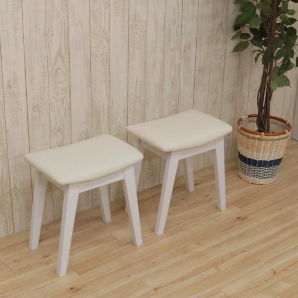 スツール 2脚セット ホワイト 完成品 クッション 幅42cm 44cs128-2ch-360wh 白色 ベンチチェア 玄関椅子 チェア サイドチェア 補助椅子 イス 3s-1k-128 hr|takara21|05