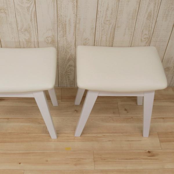 スツール 2脚セット ホワイト 完成品 クッション 幅42cm 44cs128-2ch-360wh 白色 ベンチチェア 玄関椅子 チェア サイドチェア 補助椅子 イス 3s-1k-128 hr|takara21|06