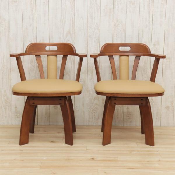 アウトレット 回転イス ダイニングチェア 肘付き椅子  2脚セット 木製 肘付き ワイドタイプ bist2-360 ライトブラウン ミドルブラウン 161|takara21|05