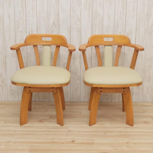 アウトレット 回転イス ダイニングチェア 肘付き椅子  2脚セット 木製 肘付き ワイドタイプ bist2-360 ライトブラウン ミドルブラウン 161|takara21|08