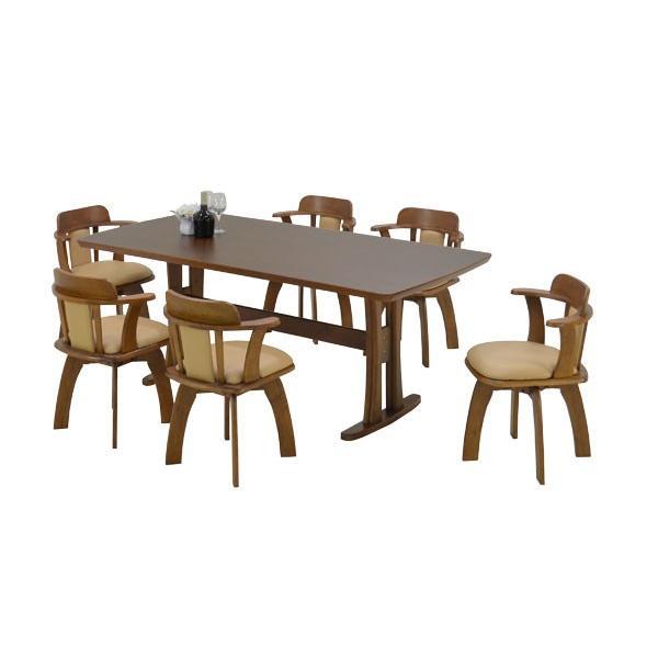 180 ダイニングテーブルセット 7 点 肘付き回転イス 椅子 morisu -360 bist ライトブラウン ライトブラウン色 北欧 ダイニングセット 6人掛け 161 takara21 06