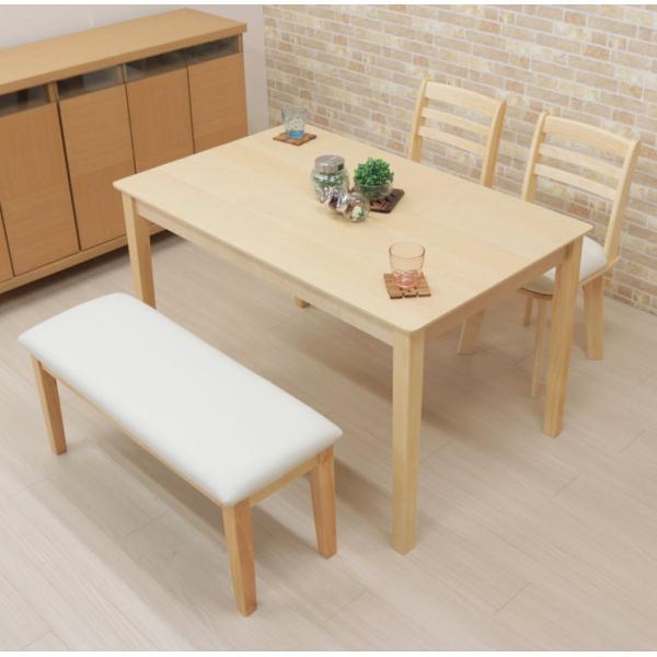 ダイニングテーブルセット 4点 回転椅子 ベンチ付 幅120cm meri120-4-hop371 kent クリア ナチュラル 白木 木製 天然木 アウトレット 10s-3k hg|takara21|06