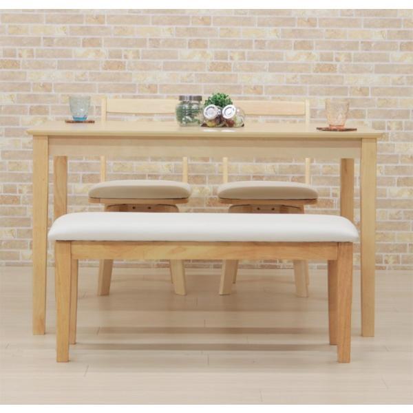 ダイニングテーブルセット 4点 回転椅子 ベンチ付 幅120cm meri120-4-hop371 kent クリア ナチュラル 白木 木製 天然木 アウトレット 10s-3k hg|takara21|07